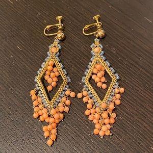 Drop Peach and Blue Earrings